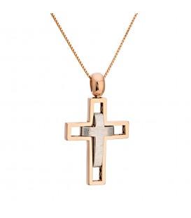 Fashion Ανδρικός βαπτιστικός σταυρός από λευκό και ροζ χρυσό