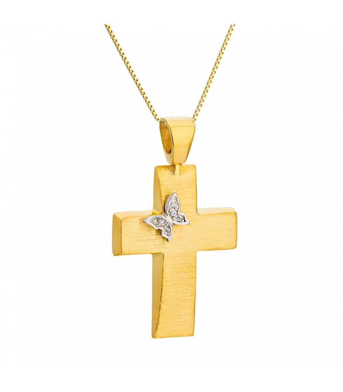Χειροποίητος γυναικείος βαπτιστικός σταυρός χρυσός - www.kosmima.info 55a50826780
