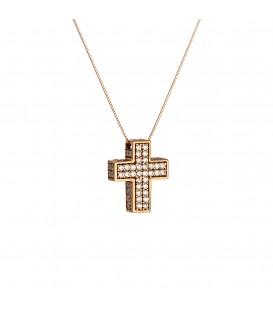 Οικονομικός γυναικείος βαπτιστικός σταυρός από ροζ χρυσό