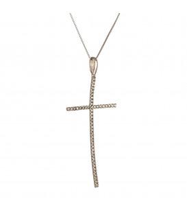 Fashion Γυναικείος βαπτιστικός σταυρός από λευκό χρυσό