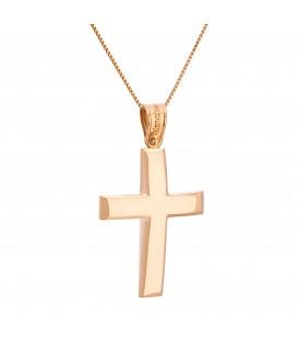 Ανδρικός κλασικός βαπτιστικός σταυρός από ροζ χρυσό