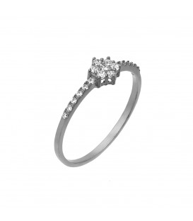 Δαχτυλίδι ροζέτα από λευκό χρυσό