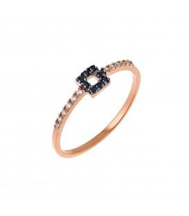 Δαχτυλίδι τετράγωνο από ροζ χρυσό