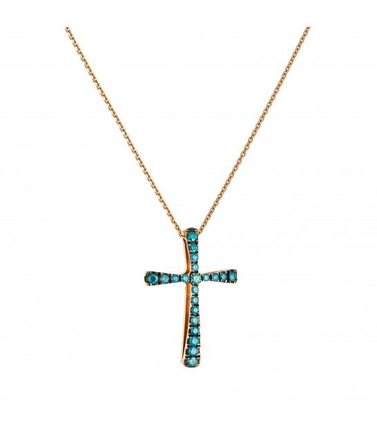 Σταυρός με διαμάντια από ροζ χρυσό 9189aaa70fb