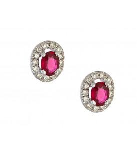 Σκουλαρίκια Ροζέτα με Ρουμπίνια λευκόχρυσα