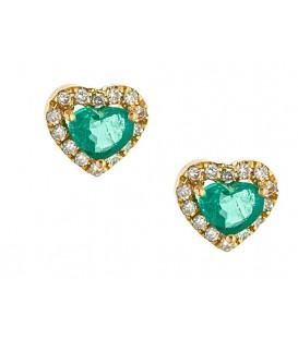 Σκουλαρίκια Ροζέτα καρδιά με Σμαράγδια χρυσά