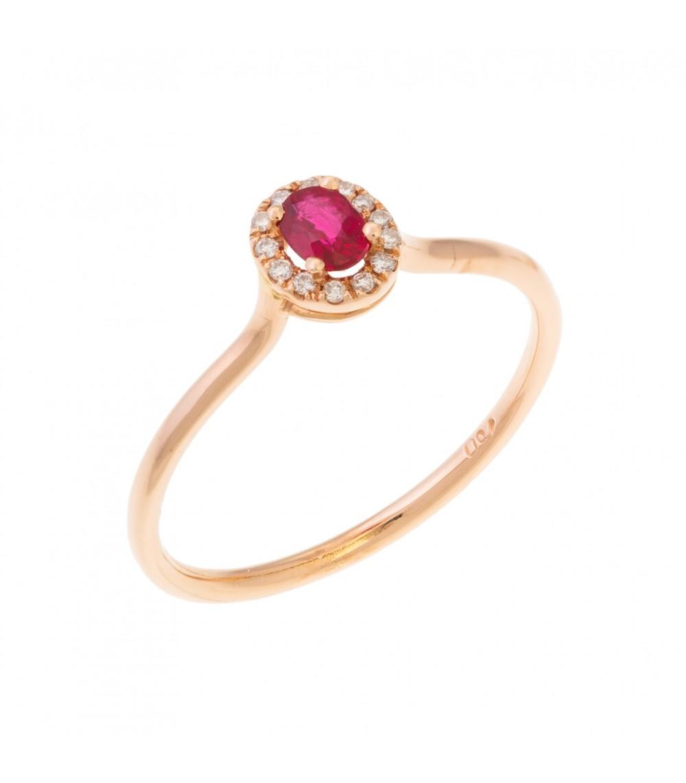 Μοντέρνο μονόπετρο ροζέτα με ρουμπίνι ροζ χρυσό - www.kosmima.info 5ad500ac744