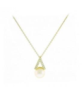 Κρεμαστό τρίγωνο με μαργαριτάρι από χρυσό